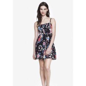 Express Black Floral Sweetheart Neckline Sundress